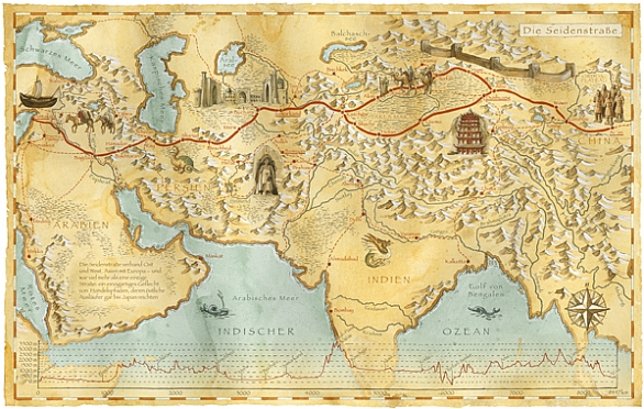 graphic about Silk Road Map Printable known as MAPS ATLAS - SILK Highway Exchange ROUTES MAP