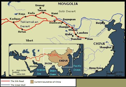 MAPS  ATLAS  SILK ROAD TRADE ROUTES MAP